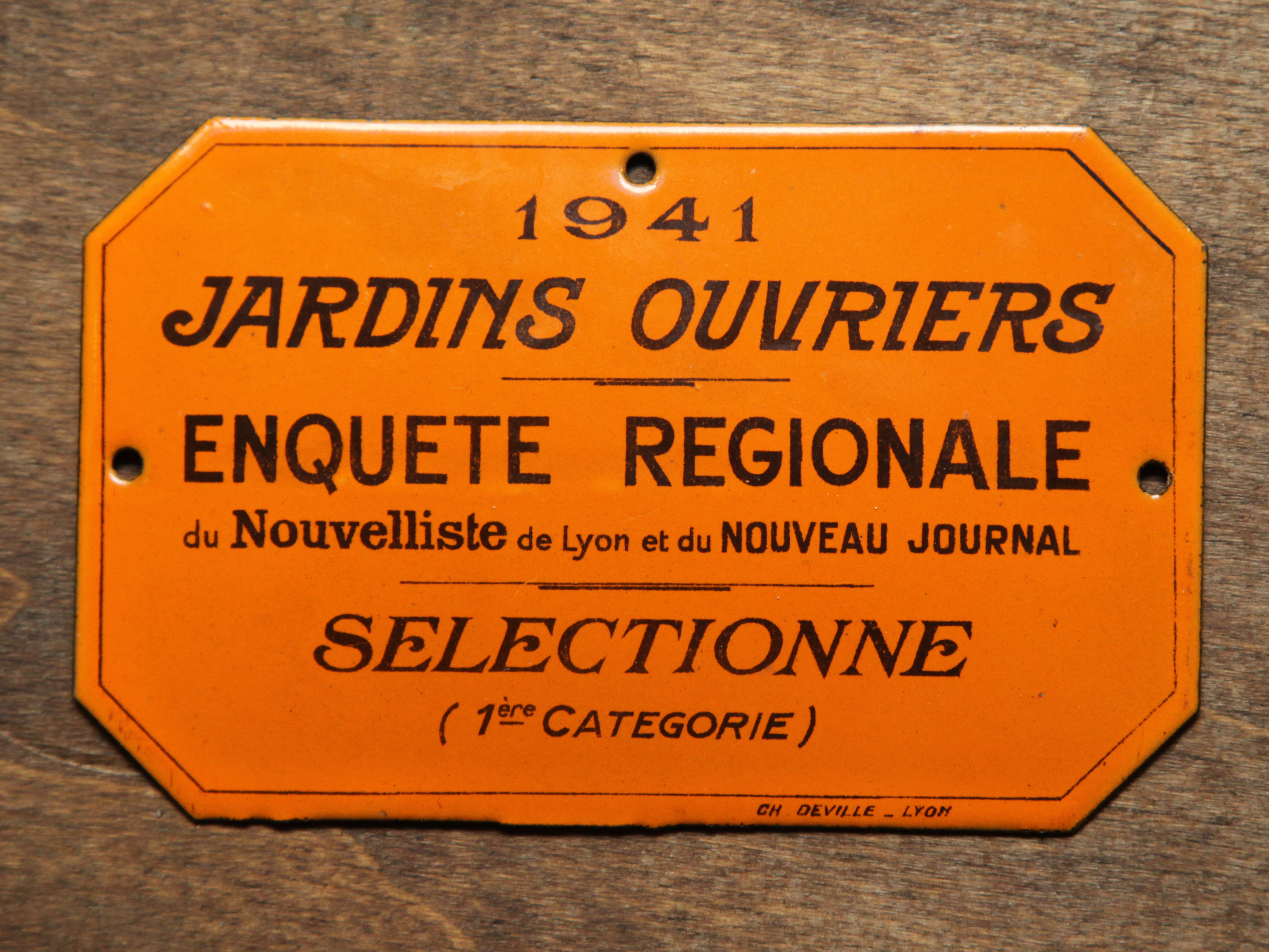 Plaque Emaillee Jardins Ouvriers Novecento